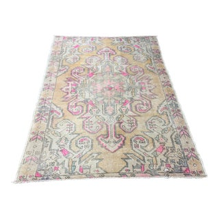 1960s Vintage Turkish Oushak Hand-Knotted Rug - 4′5″ × 6′9″ For Sale