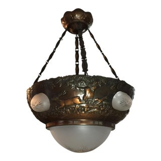 Mid 20th Century Art Deco Swedish Copper Chandelier For Sale