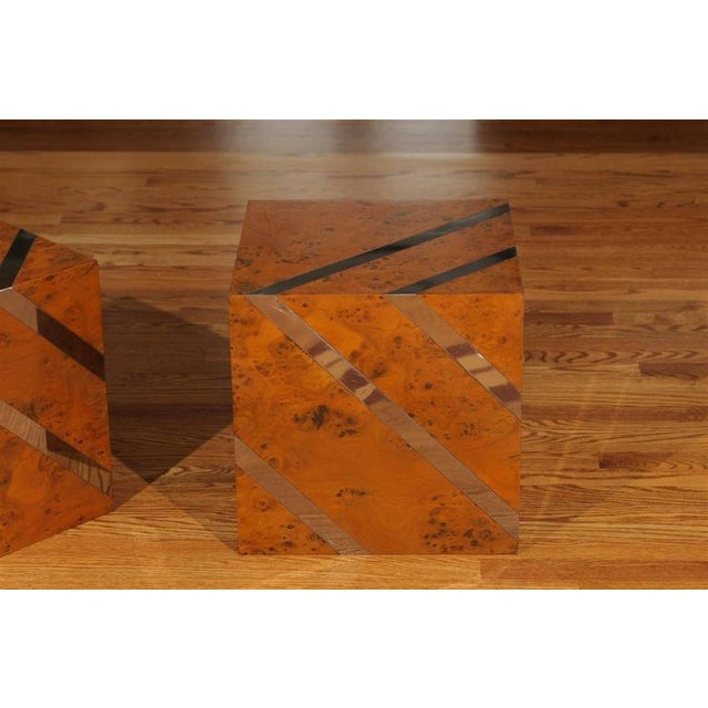 Metal Restored Pair of Olivewood and Nickel Cubes For Sale - Image 7 of 11