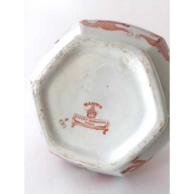 Ceramic Large Mason's Ironstone Ceramic Pitcher Jug in Chinese Dragon Pattern For Sale - Image 7 of 13