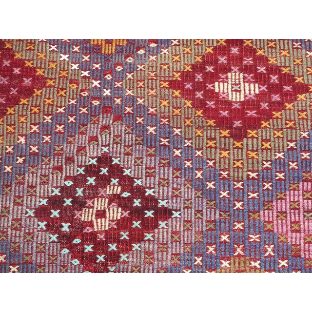"Textile Vintage Turkish Handmade Kilim Rug-6'1'x9'7"" For Sale - Image 7 of 13"