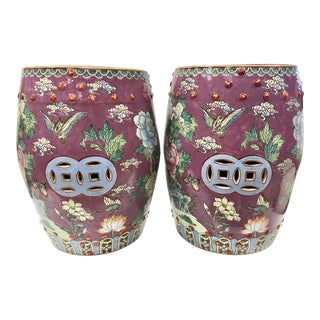 Chinese Porcelain Hand Painted Garden Stools - A Pair