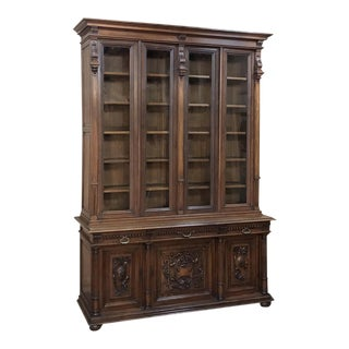 19th Century French Henri II Walnut Bookcase For Sale