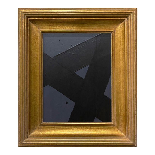 Ron Giusti Mini Abstract Charcoal and Black Acrylic Painting, Framed For Sale