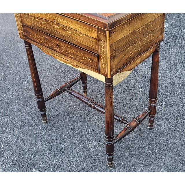 Antique English Regency Inlaid Rosewood 19th Century Sewing Work Table C1890 For Sale In New York - Image 6 of 13