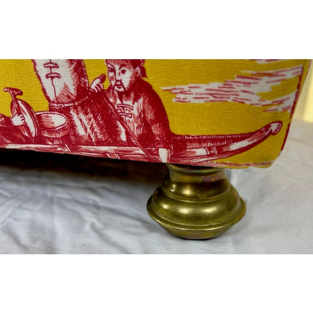 Metal Late 20th Century Vintage Chinoiserie Pouf Footstools with Brass Feat - a Pair For Sale - Image 7 of 10
