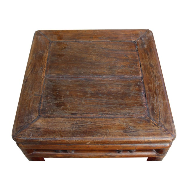 1970s Chinese Handmade Vintage Finish Square Wood Stool Table For Sale - Image 5 of 6