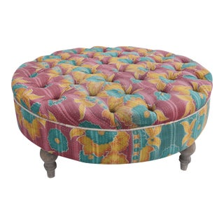 India Kantha Upholstered Tufted Ottoman For Sale