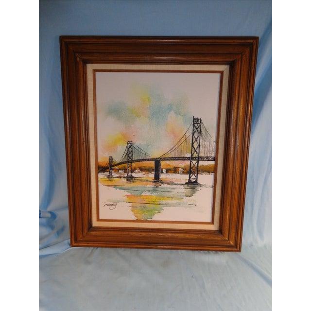 Impressionist Bay Bridge by Adriano Marchello For Sale - Image 11 of 11