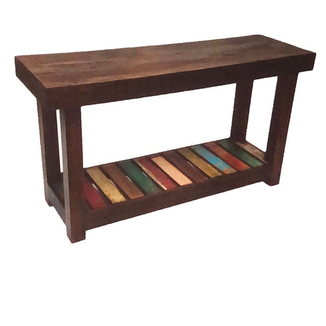 Abstract Reclaimed Wood Console Table For Sale - Image 3 of 3