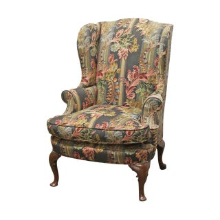 Vintage Floral Arm Chair With Cabriole Legs For Sale