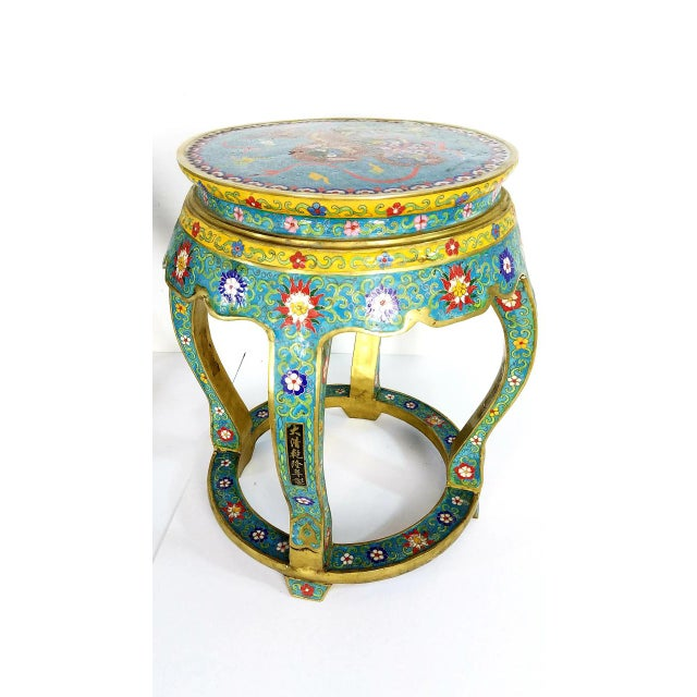 Asian Chinese Cloisonne Bronze Stools - a Pair For Sale - Image 3 of 13