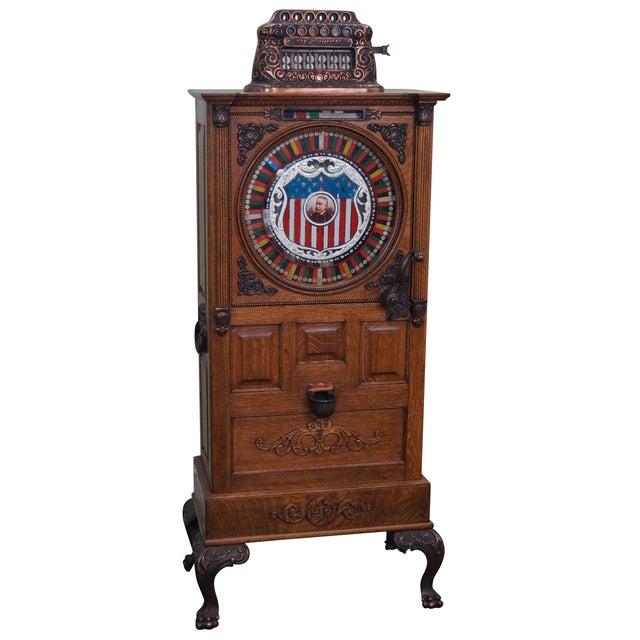 The Dewey Antique Oak Upright 5 Cent Slot Machine - Image 1 of 10