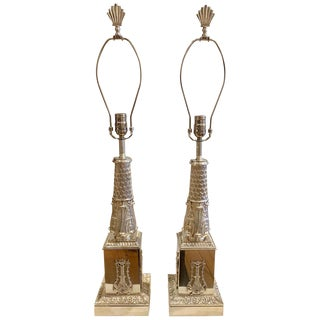Pair of 19th Century Regency Silvered Neoclassical Lamps For Sale