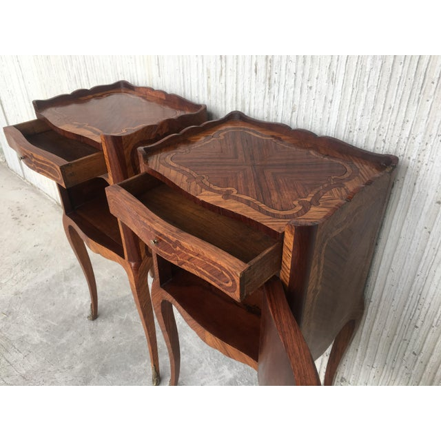 Pair of French Marquetry Walnut Bedside Tables With Drawers and Open Shelf For Sale - Image 10 of 13