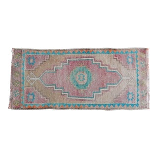 Distressed Low Pile Small Rug Turkish Hand Knotted Bath Mat Yastik Rug 1′5″ × 3′ For Sale