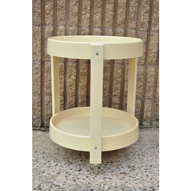 Mid-Century Modern Vintage Joe Colombo Style Mid Century Modern Plastic Round Bar Tea Cart For Sale - Image 3 of 11