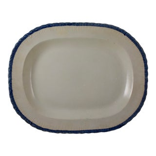 19th C. Leeds Blue Feather or Shell Edge Pearlware Oval Platter For Sale