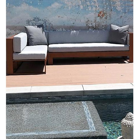 The Brazza Sectional Sofa is a great design for any interior/exterior concept. Produced of a solid IPE wood frame and...