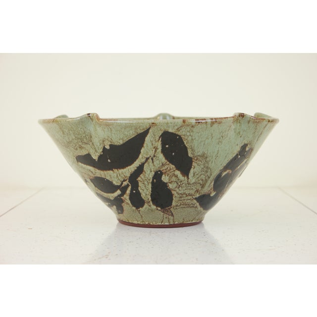 Rustic Large Hand Made Glazed Ceramic Decorative Bowl For Sale - Image 3 of 10