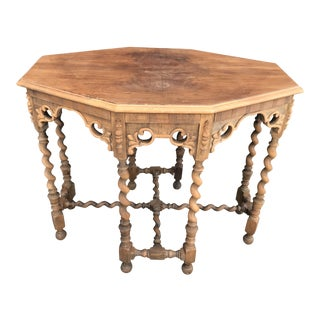 Antique Carved Console Table With Barley Twist Legs