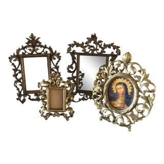 Vintage Roccoco Victorian Brass Frames - Set of 4 For Sale
