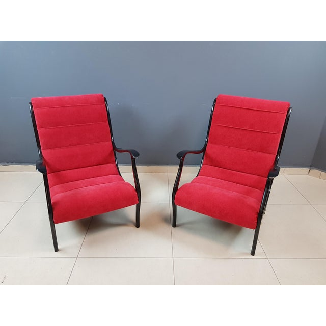 Italian Mid-Century Modern Lounge Armchairs by Ezio Longhi, 1950s Reupholstered - a Pair For Sale - Image 13 of 13