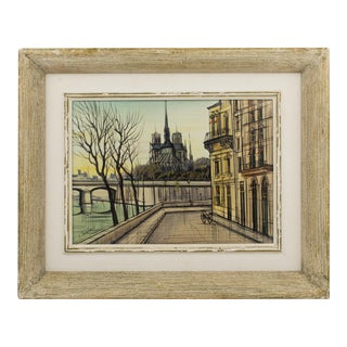 Notre Dame Cathedral and Ile Saint Louis Oil on Canvas Painting by Paul Lambert For Sale