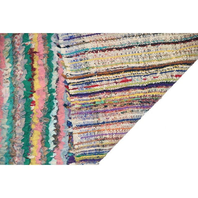 Boho Chic Vintage Boucherouite Rag Rug - 2′8″ × 6′ For Sale - Image 3 of 3
