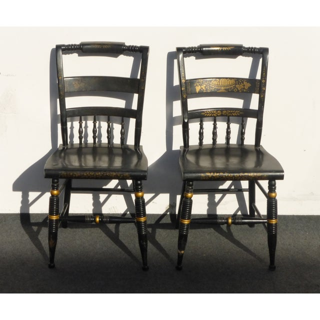 Black Vintage Spindle Back Windsor Chairs - A Pair - Image 2 of 11