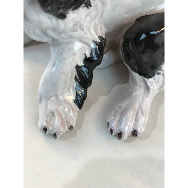 Black Vintage Italian Majolica Spaniel Dog Figurine For Sale - Image 8 of 10