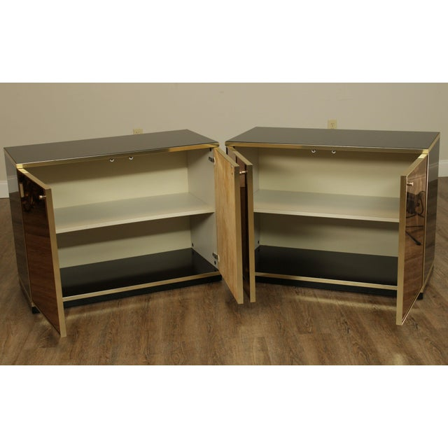 Mid-Century Modern Contemporary Mirrored Door Cabinets - a Pair For Sale - Image 3 of 13
