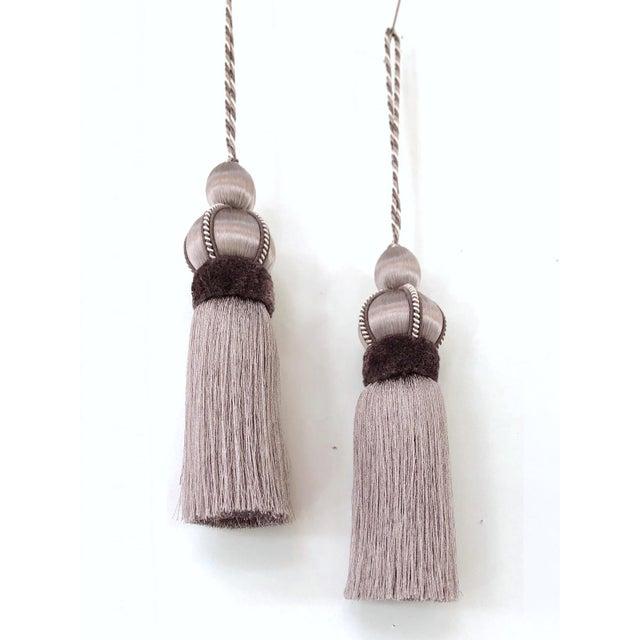 Lavender Key Tassel With Cut Velvet Ruche - a Pair For Sale - Image 10 of 12
