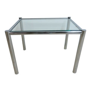Milo Baughman Round Chrome End Table