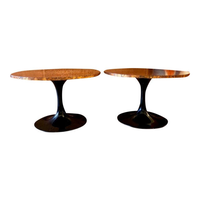 Mid Century Modern Decorator Copper Top Tulip Side Tables- a Pair For Sale