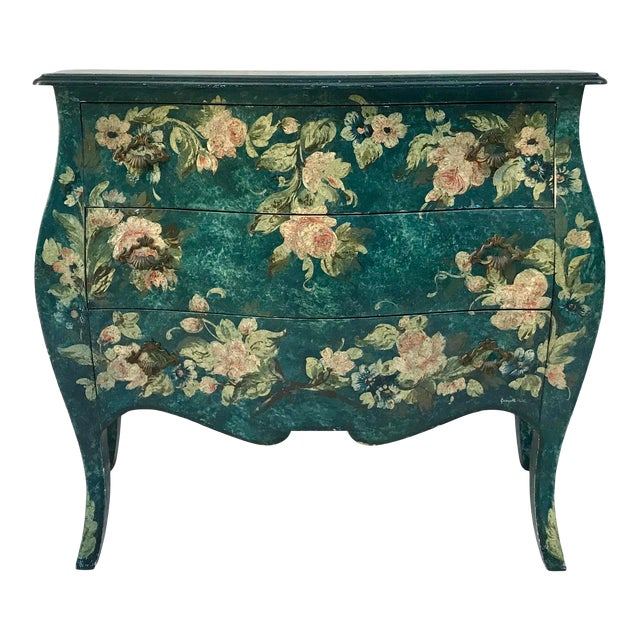 1970s Vintage French Hand-Painted Bombe 3-Drawer Chest For Sale