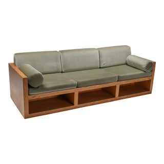 1960s Moss Green Velvet and Pitch Pine Three-Seat Sofa For Sale