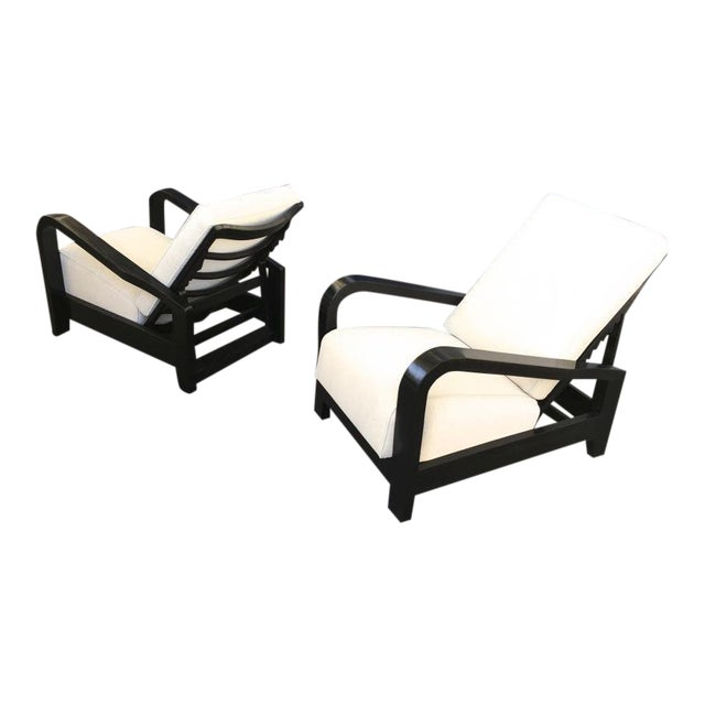 Pair of France 50s Exceptional Leaning Comfy Lounge Chairs Fully Restored For Sale