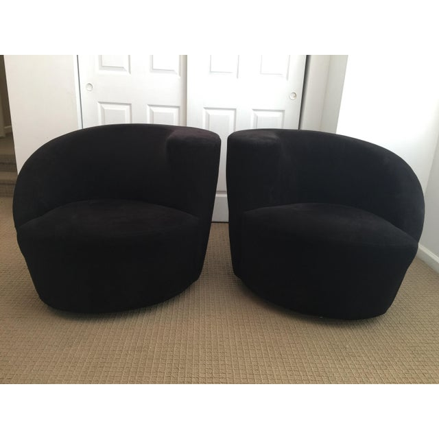 Directional Sculptural Vladimir Kagan Directional Nautilus Swivel Lounge Chairs, Black For Sale - Image 4 of 12