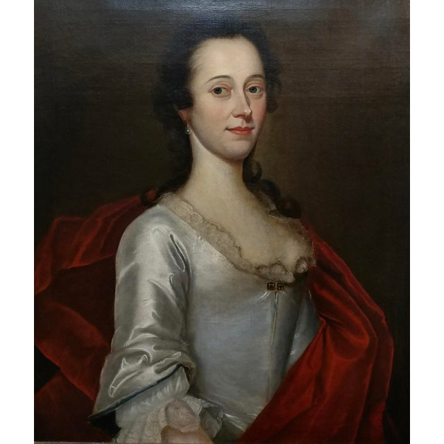Figurative 18th Century Portrait of an English Aristocratic Woman -Oil Painting For Sale - Image 3 of 10