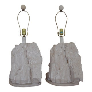 Vintage Sirmos Style Mid-Century Modern Rock Stone Table Lamps - a Pair For Sale