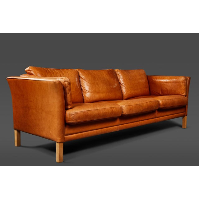 A Handsome Leather Scandinavian Sofa For Sale In Los Angeles - Image 6 of 6