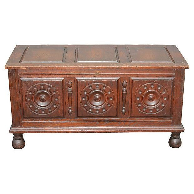 Antique Carved Paneled Cedar Chest - Image 1 of 7
