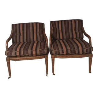 Traditional Walnut Occasional Chairs - a Pair For Sale