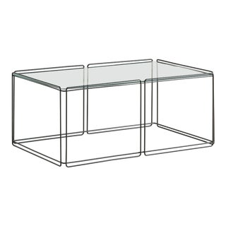 Architectural Metal and Glass Coffee Table by French Artist Max Sauze For Sale