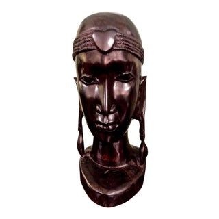 20th Century African Male Bust in Ebony For Sale