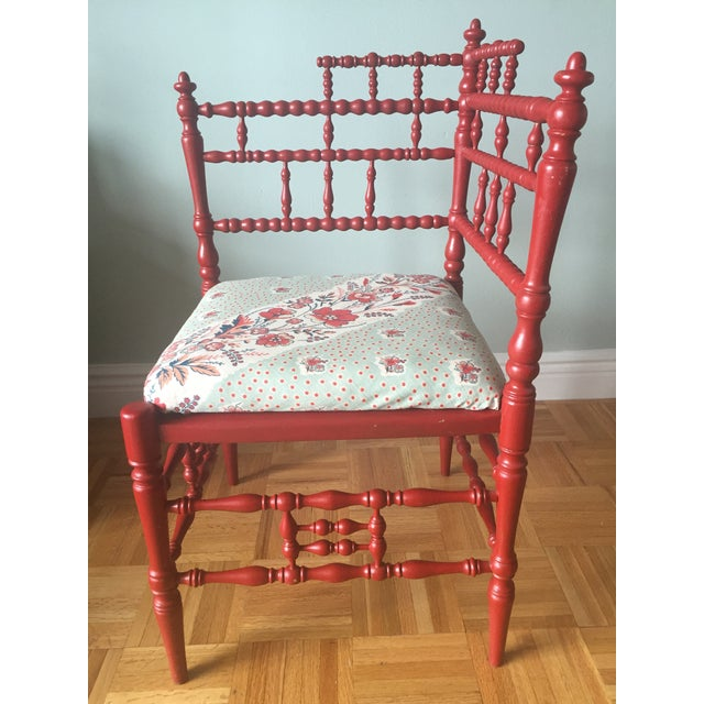 Turned Wood Corner Chair with Upholstered Seat - Image 4 of 11