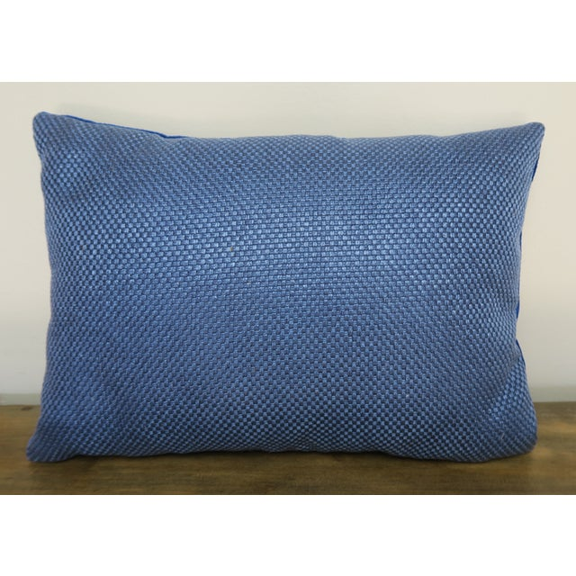 2010s Blue Velvet Pillow With Applique For Sale - Image 5 of 6