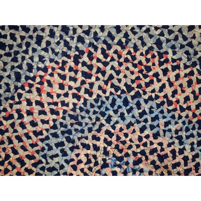 Blue 1920s handmade antique American braided rug 2.5' x 2.9' For Sale - Image 8 of 10