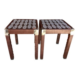 Folk Art Laurie Roddick Handcrafted Side Tables - a Pair For Sale